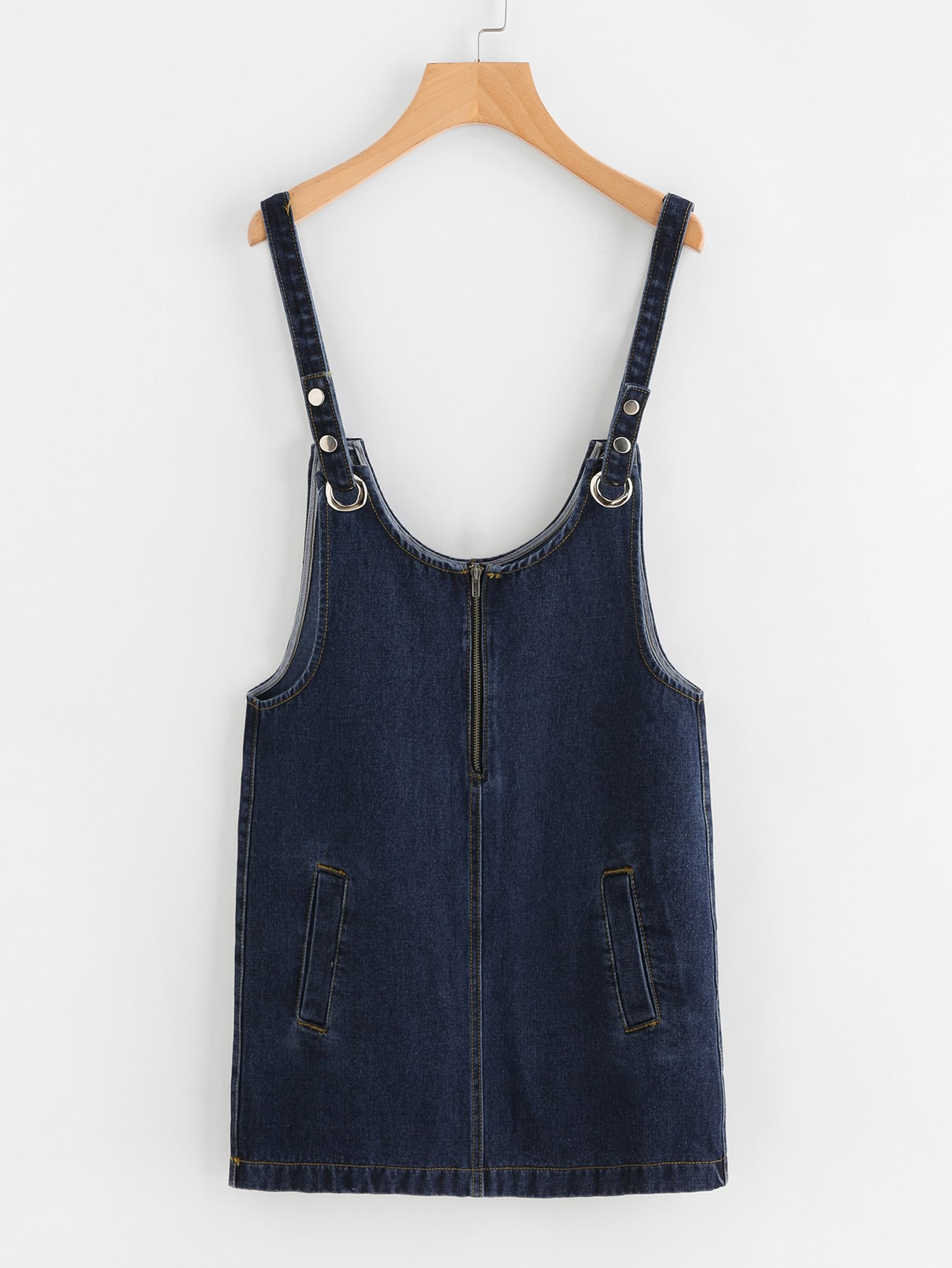 Image of Dark Wash Detachable Strap Denim Overall Dress
