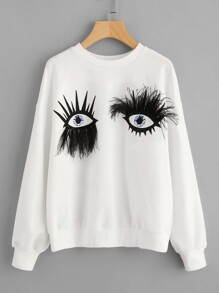 Faux Fur Eyes Print Drop Shoulder Sweatshirt