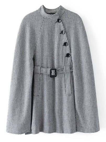 Belted Longline Houndstooth Cape Coat