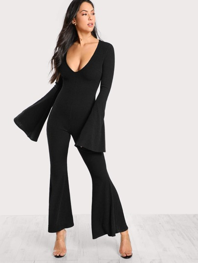 Plunge Neck Bell Sleeve Flared Jumpsuit