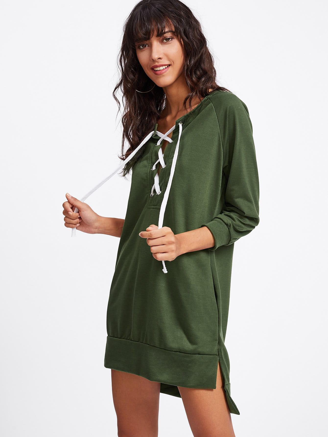 Grommet Lace Up Slit Side Raglan Sweatshirt Dress grommet lace up slit back pencil skirt