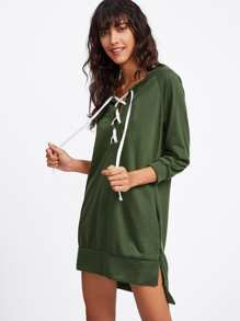 Grommet Lace Up Slit Side Raglan Sweatshirt Dress