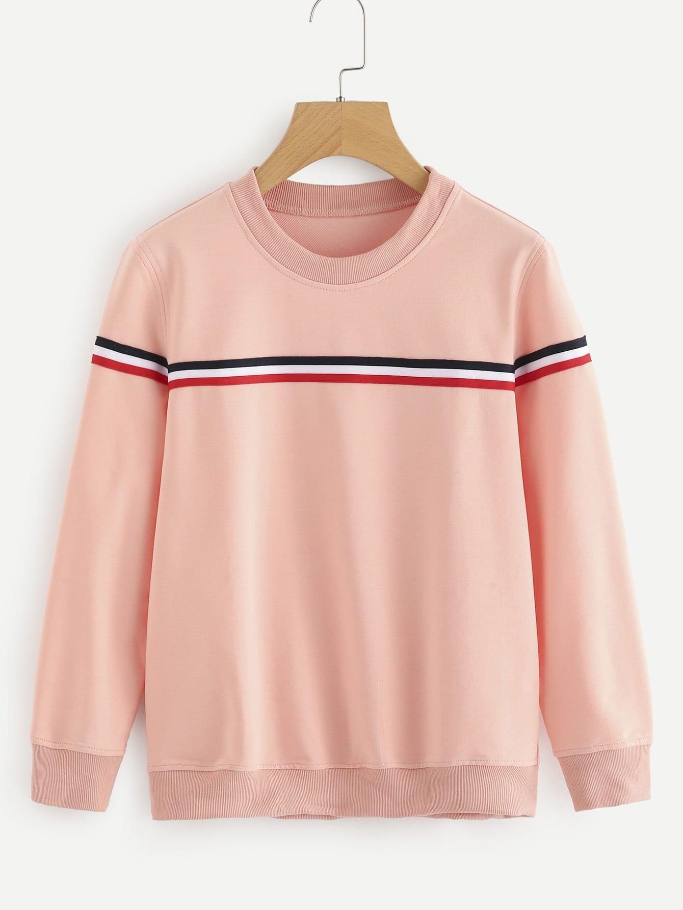 Contrast Stripe Tape Detail Sweatshirt striped woven tape detail two tone sweatshirt