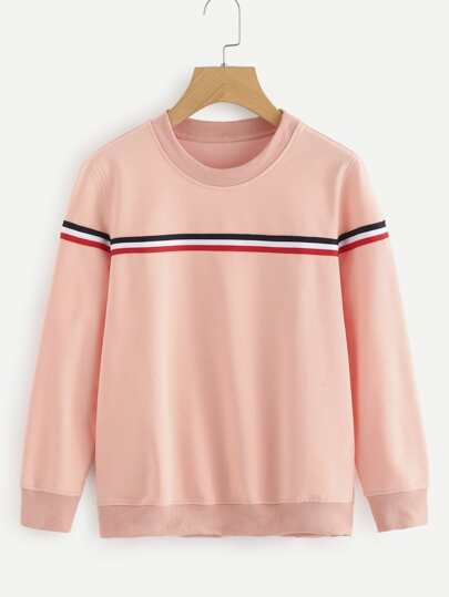 Contrast Stripe Tape Detail Sweatshirt