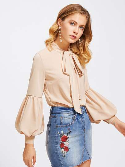 Lantern Sleeve Self Tie Neck Blouse