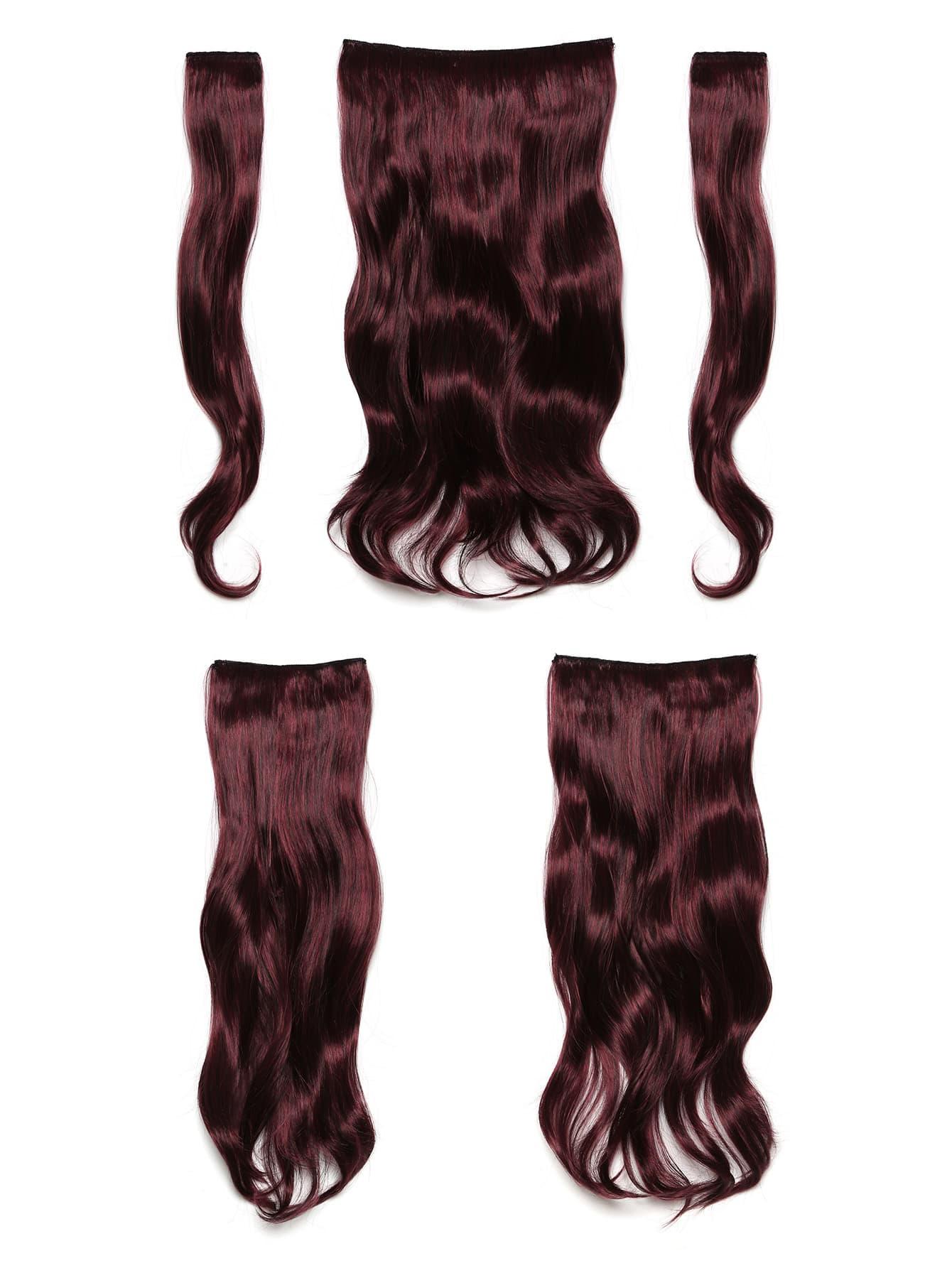 Black & Burgundy Clip In Soft Wave Hair Extension 5pcs jet black clip in soft wave hair extension 5pcs
