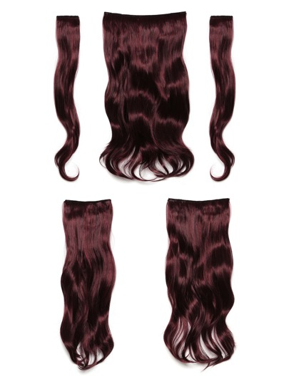 Black & Burgundy Clip In Soft Wave Hair Extension 5pcs