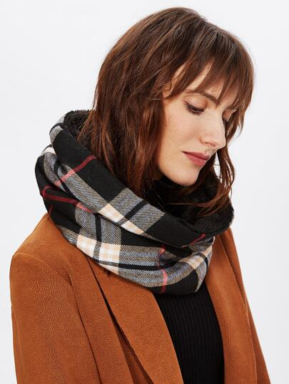Gingham Print Infinity Scarf