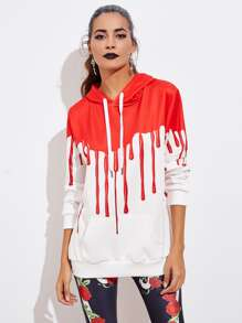 Halloween Blood Dripping Print Hoodie