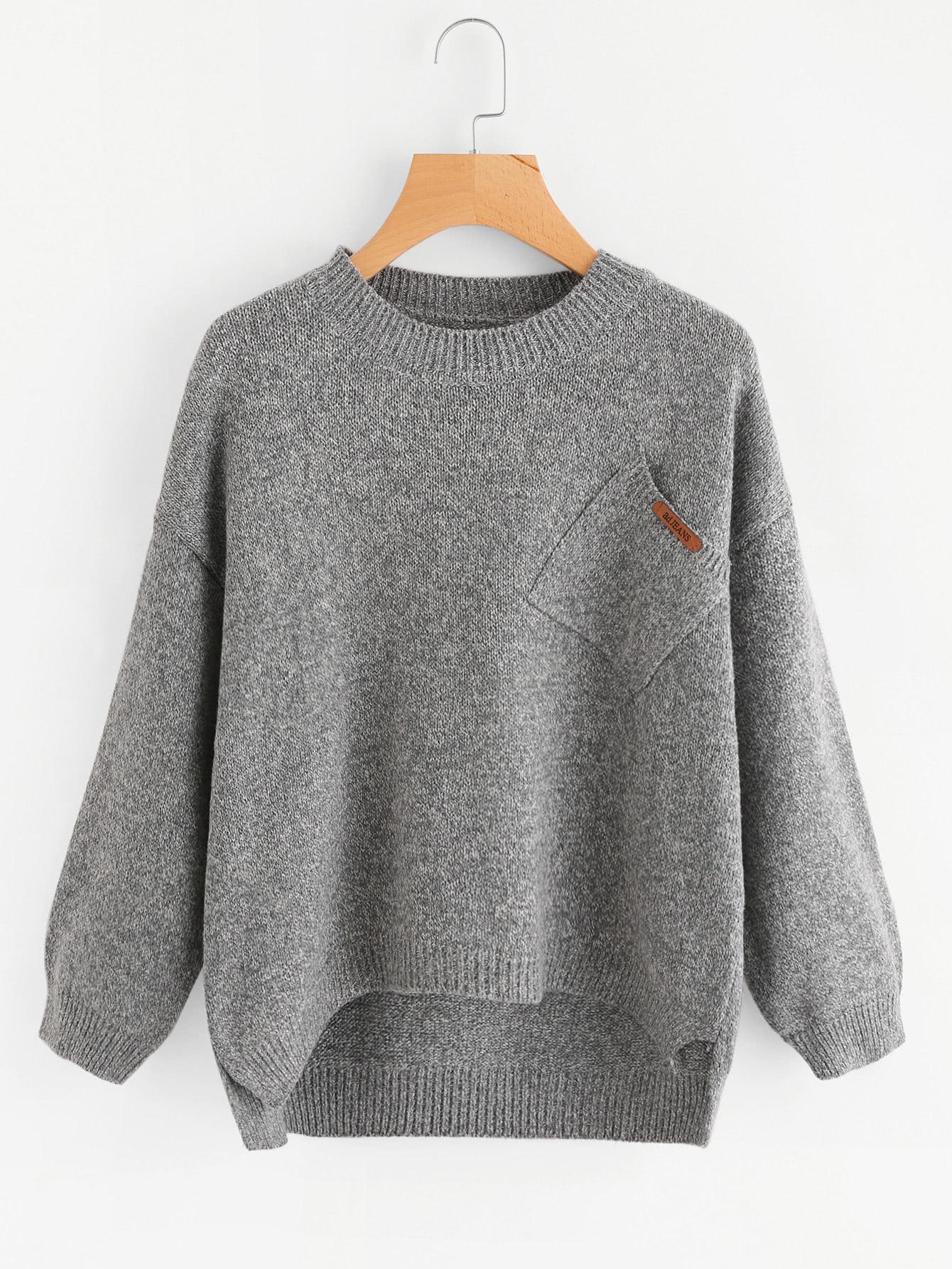 цены  Dip Hem Patch Pocket Sweater