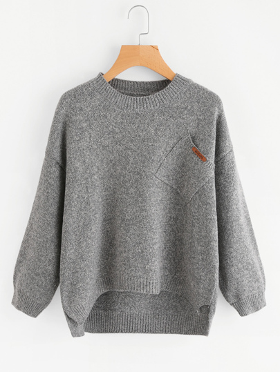 Dip Hem Patch Pocket Sweater