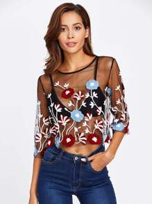 Embroidered Mesh Transparent Crop Top