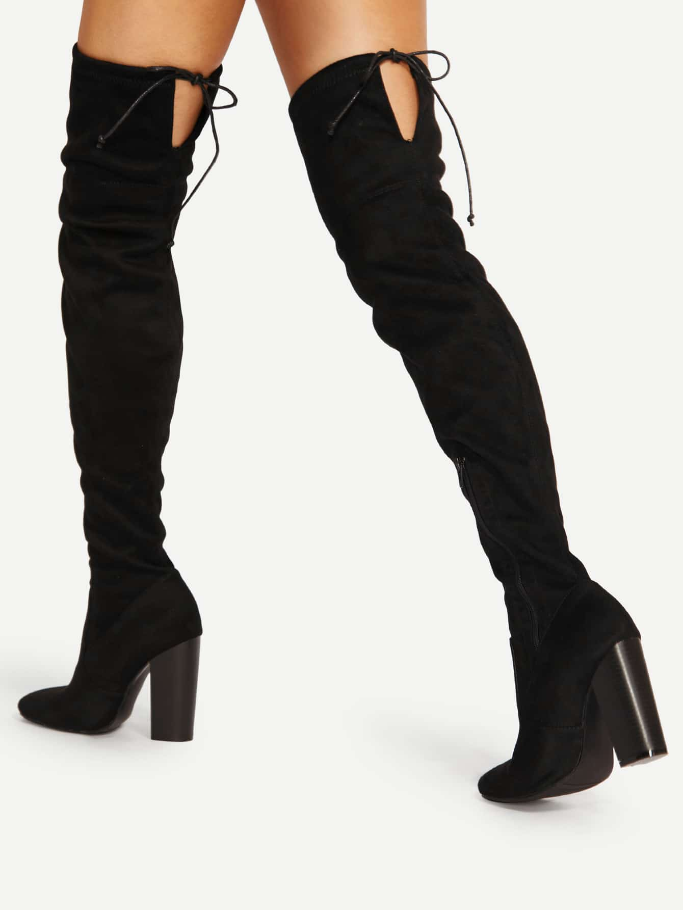 все цены на Lace Up Detail Block Heeled Thigh High Boots