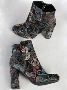 Multi Print Zip Up Boots BLACK