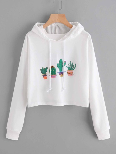 Cactus Embroidered Drawstring Hoodie