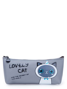 Slogan & Cat Print Zipper Pouch