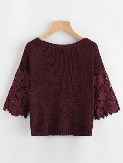 Hollow Out Crochet Sleeve Insert Sweater