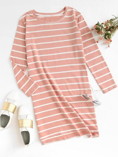 Striped Dip Hem Tee Dress