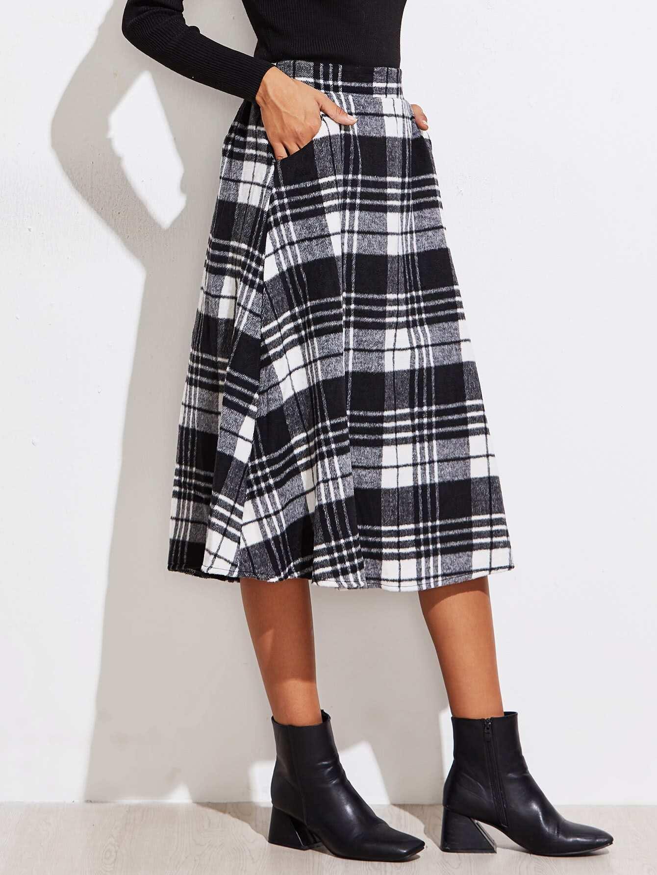 Checkered Tea Length Skirt