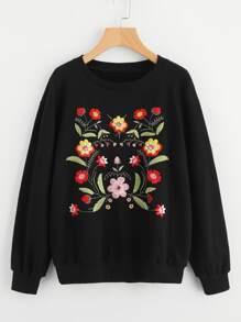 Camisa con hombro caído de bordado de flor