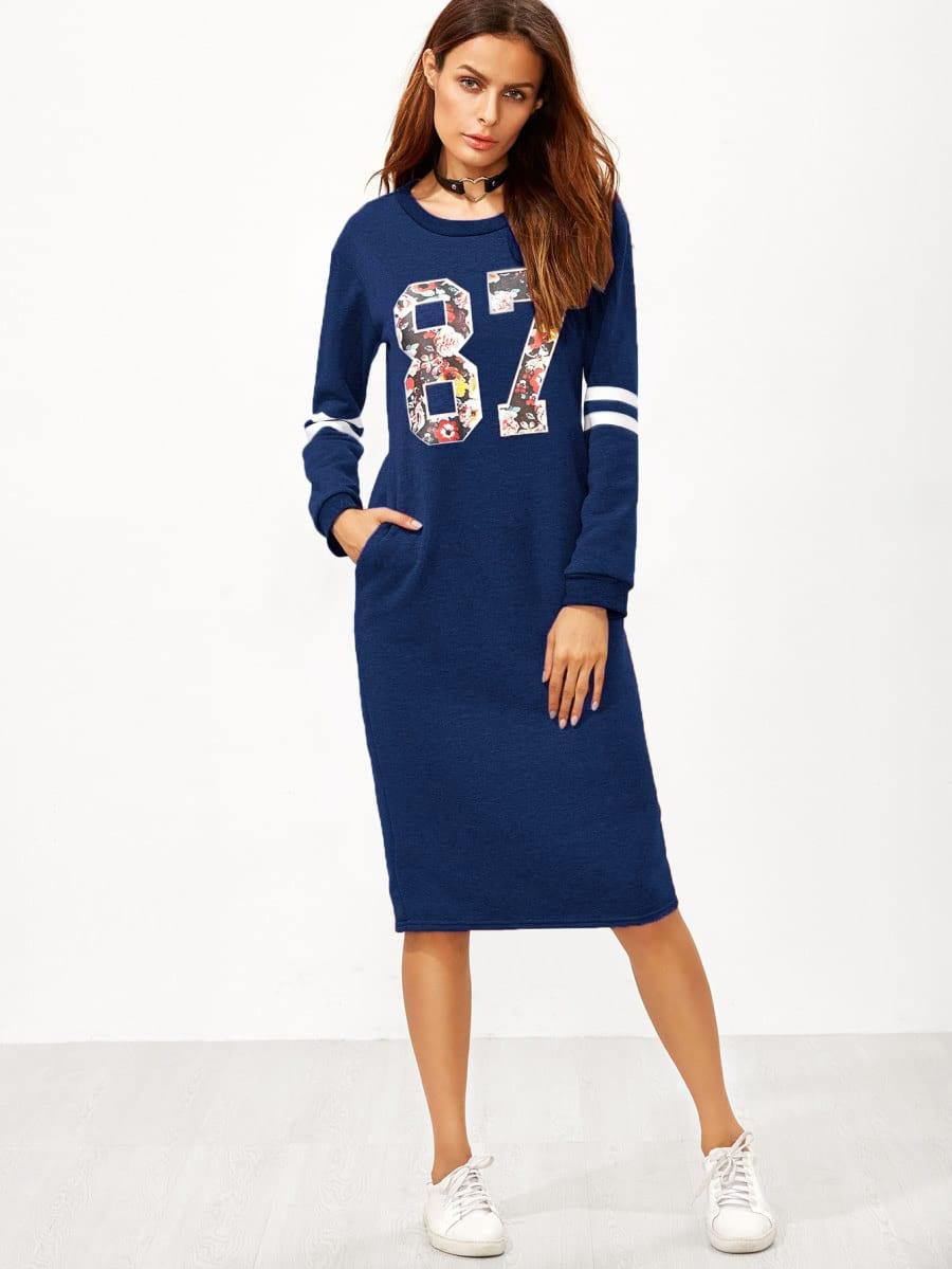 Sweatshirt Kleid mit Varsitymuster,Schlitz hinten und Reißverschluss