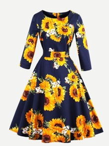 Random Sunflower Print Bow Tie Circle Dress