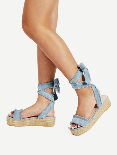 Tie Leg Flatform Denim Sandals