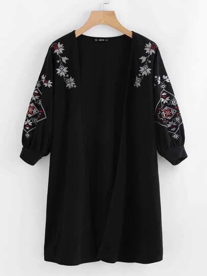 Embroidered Lantern Sleeve Open Front Coat