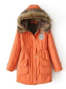 Embroidery Patch Faux Fur Hooded Parka Coat