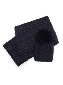 Cable Knit Pom Beanie & Scarf