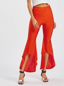 Asymmetric Hem Flare Pants