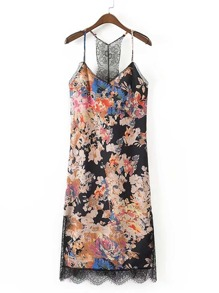 Calico Print Eyelash Lace Trim Cami Dress