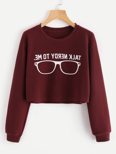 Slogan Print Crop Sweatshirt