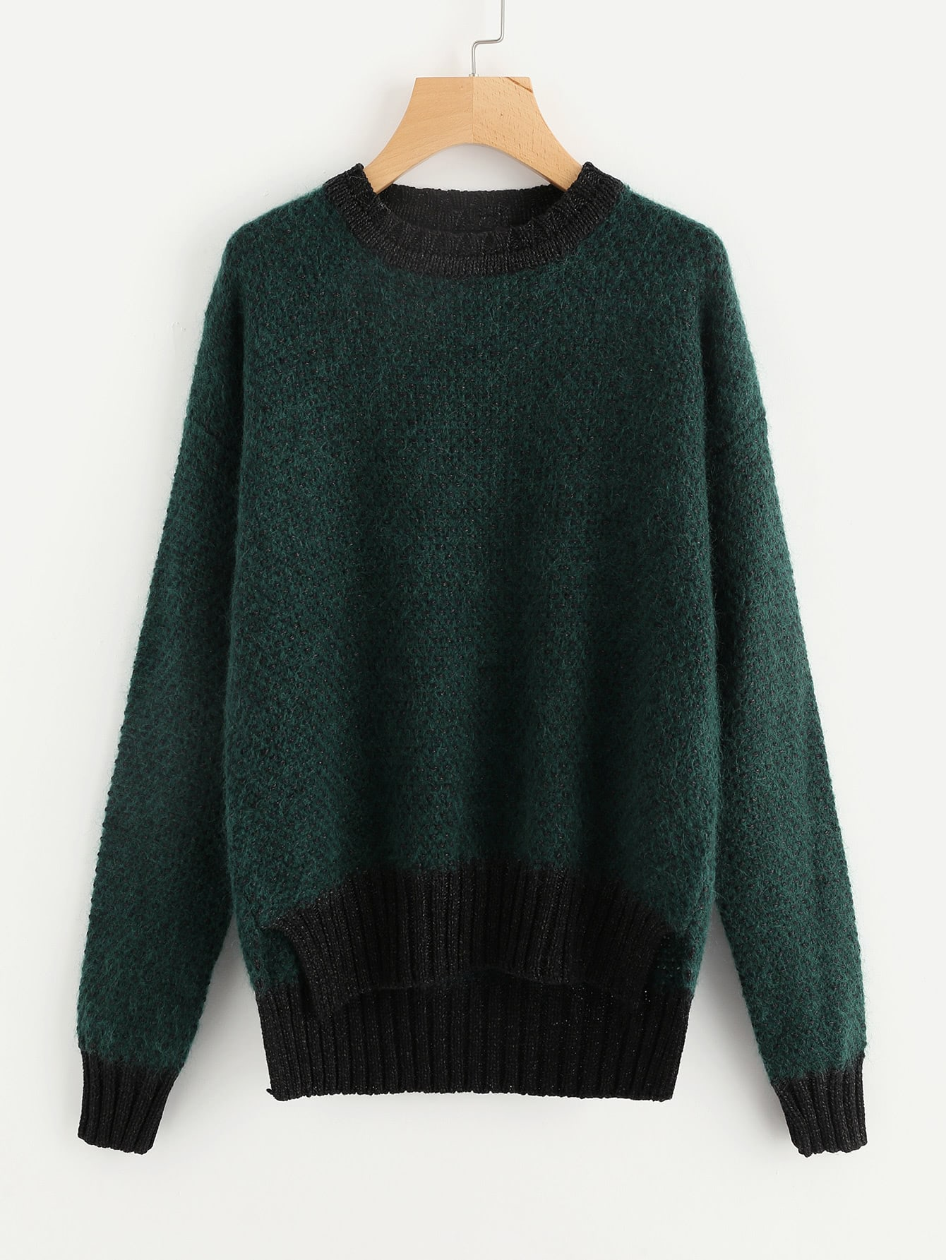 Contrast Trim Staggered Hem Fluffy Jumper sweater170904460