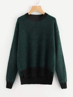 Contrast Trim Staggered Hem Fluffy Jumper