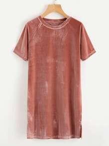 Raglan Sleeve Slit Side Velvet Tee Dress