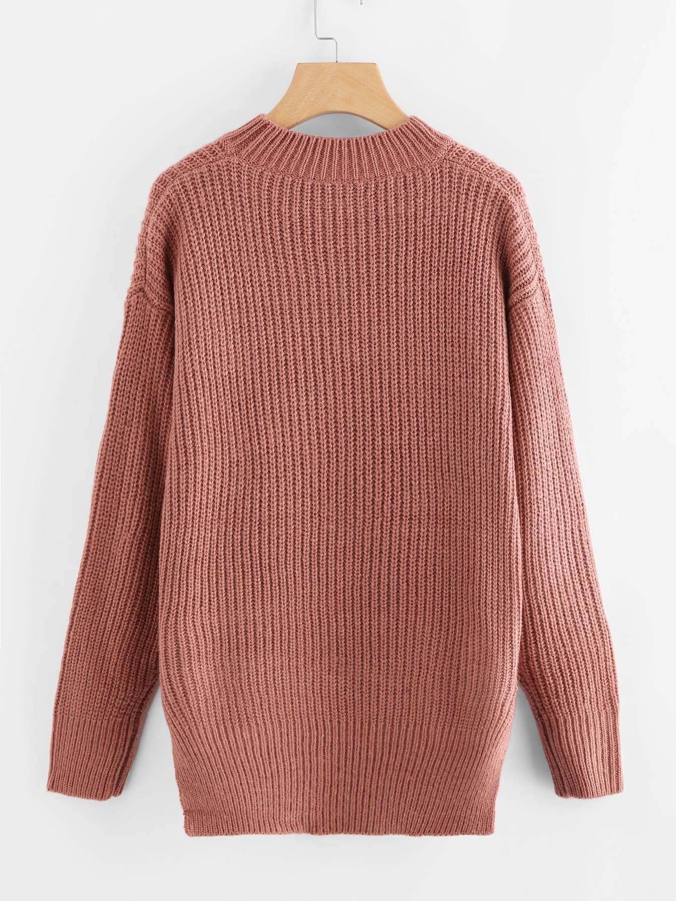 Brick Red Embroidered High Low Chunky Knit Sweater -SheIn(Sheinside)