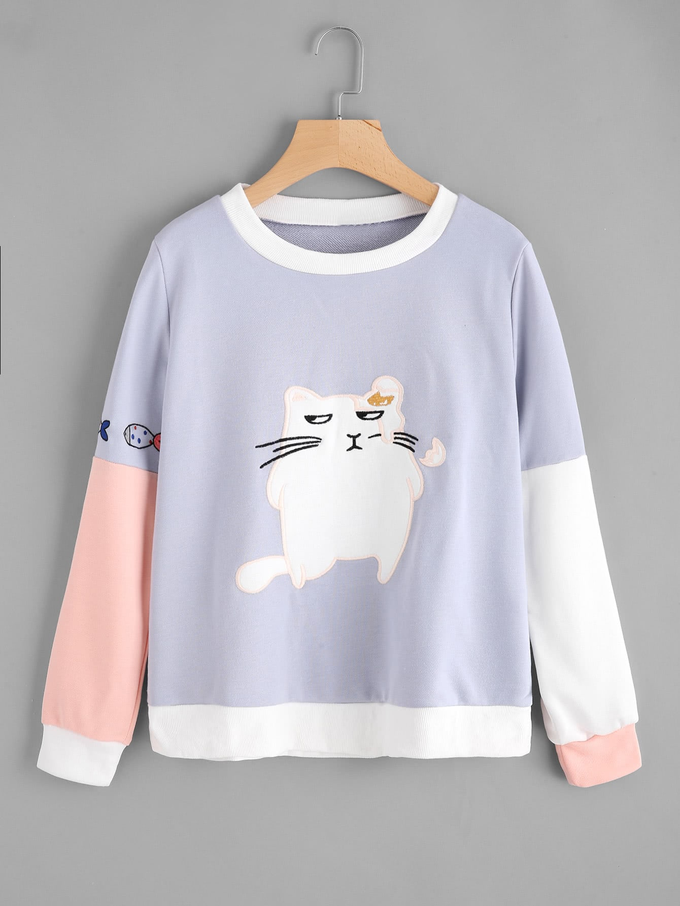 Contrast Sleeve Cat Embroidered Sweatshirt contrast check plaid embroidered appliques sweatshirt page 6