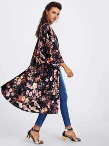 Drop Shoulder Botanical Print Velvet Coat