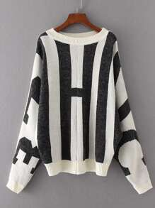 Block Striped Batwing Sleeve Sweater