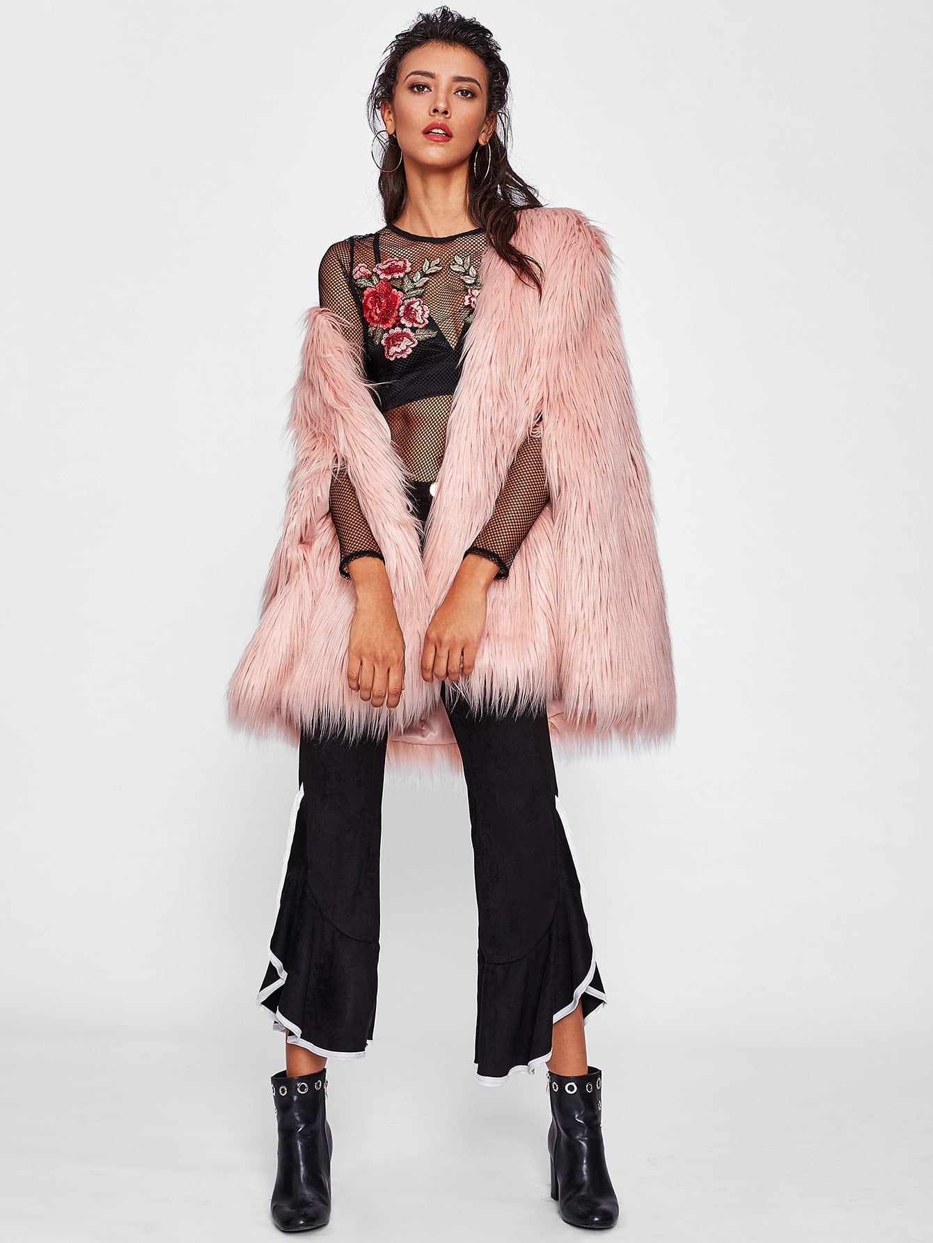Fluffy Faux Fur Cape Coat -SheIn(Sheinside)