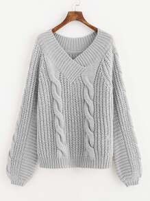 Overlap V Neck Cable Knit Jumper