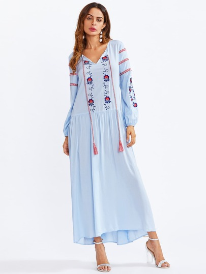 Tasseled Tie Neck Embroidered Smock Dress