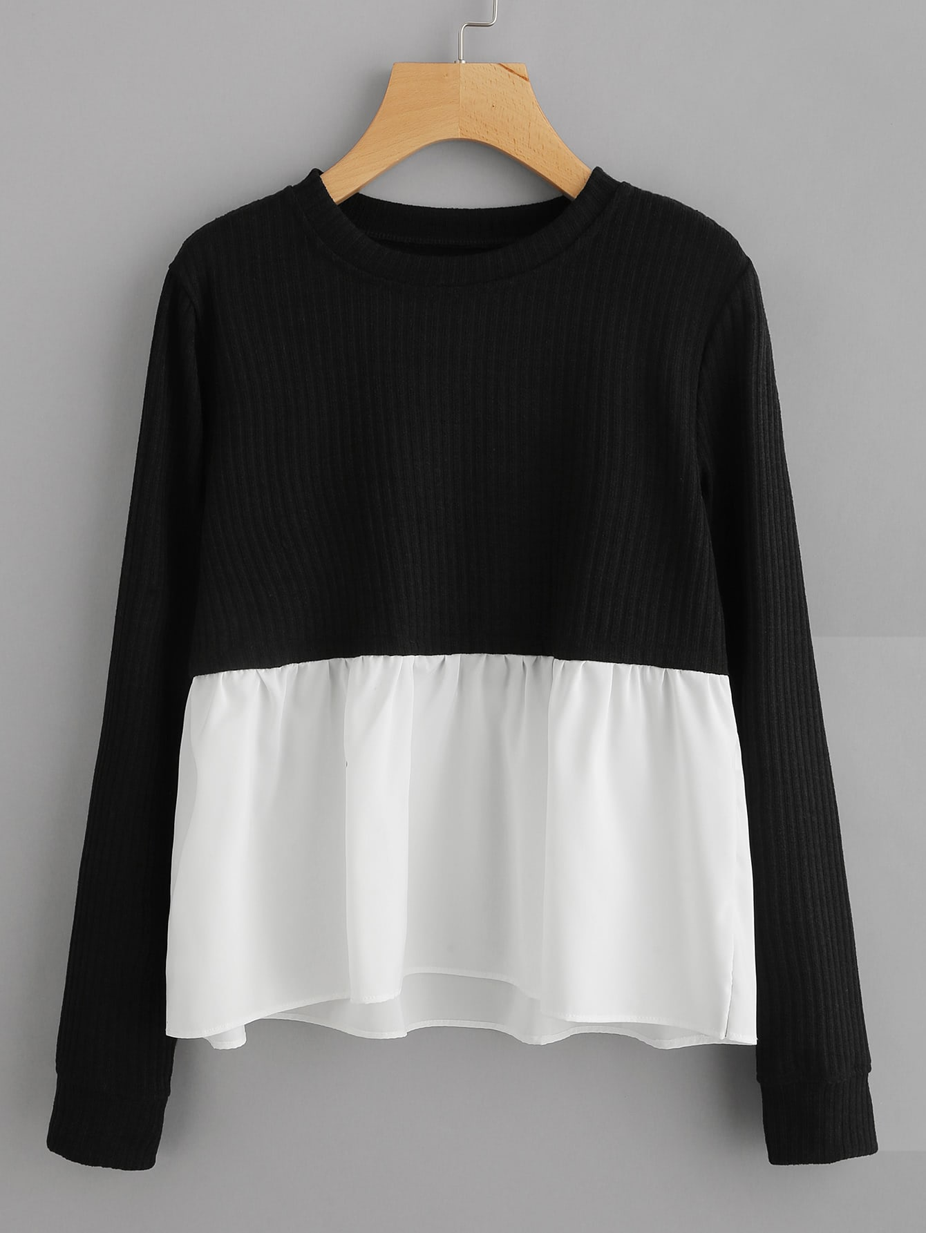 Contrast Frill Hem Ribbed Sweatshirt zip back frill neck and hem sweatshirt