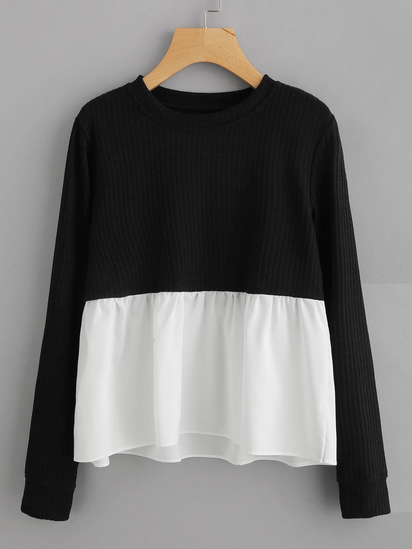 Contrast Frill Hem Ribbed Sweatshirt sweatshirt170922115
