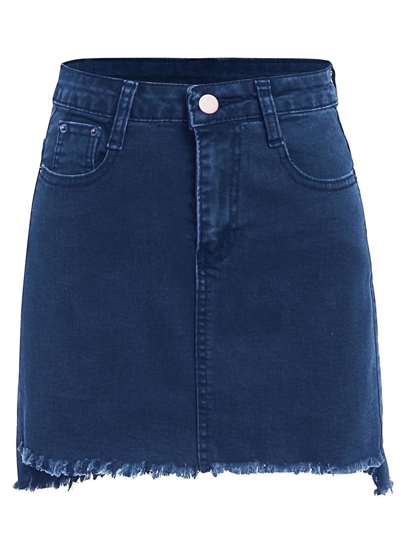 Frayed Hem Bodycon Denim Skirt
