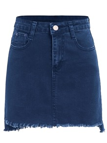 Frayed Hem Bodycon Denim Skirt