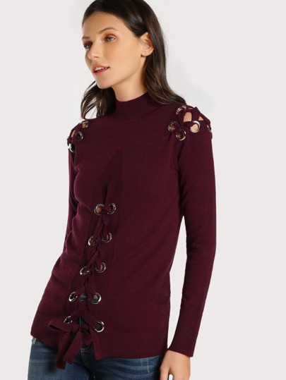 Eyelet Cut Out Turtleneck Long Sleeve Top BURGUNDY