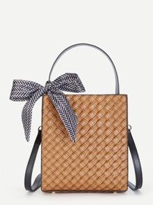 Scarf Decorated Shoulder Bag With Adjustable Strap