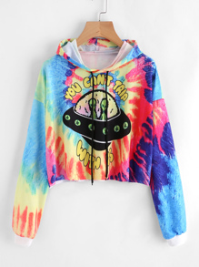 Water Color Graphic Print Crop Hoodie
